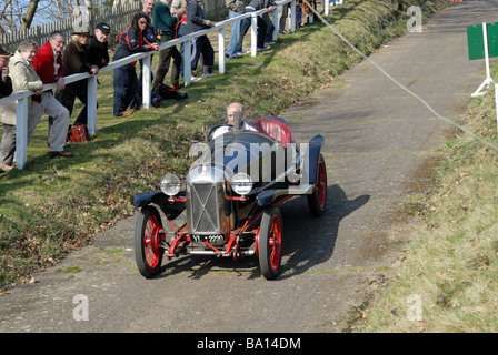 YL 2220 a 1925 Salmson Gran Sport Brooklands Museum Trust descending at speed on the Brooklands Museum Test Hill - Stock Photo