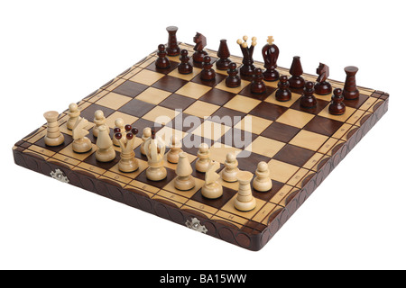 Chess board cutout on white background - Stock Photo