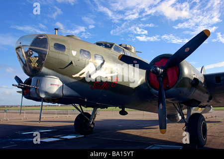 Close-up of Sally B American bomber at the Imperial War Museum Duxford - Stock Photo