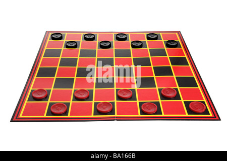 Checkers game board cutout on white background - Stock Photo