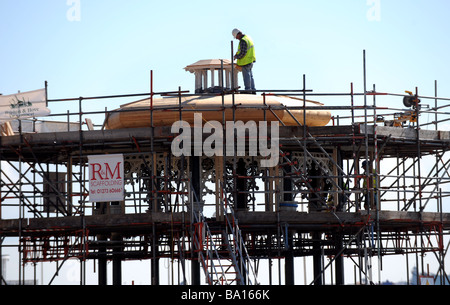 Restoration work being carried out on Brighton bandstand March 2009 - Stock Photo