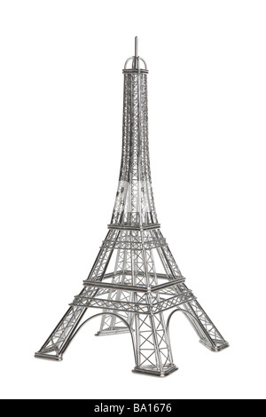 Eiffel tower wire model on white background - Stock Photo