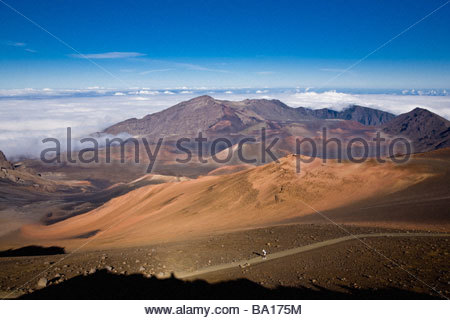 Sliding sands trail in crater of Haleakala a volcano in Haleakala National Park on island of Maui in state of Hawaii - Stock Photo