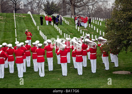 The Marine Corps Drum and Bugle Corps at a Funeral in Arlington National Cemetery;Washington;DC;USA - Stock Photo