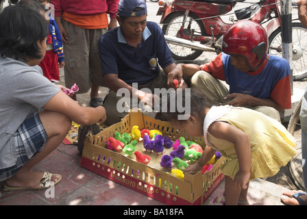 Dyed chicks for sale, Bird Market, Yogyakarta, Indonesia - Stock Photo