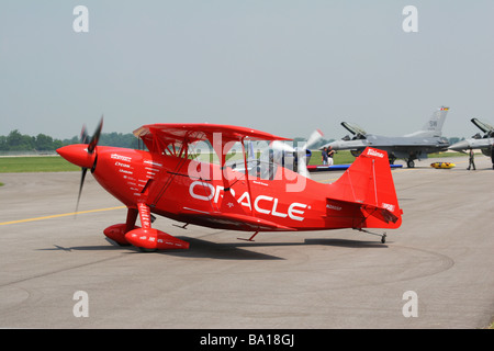 Sean D Tucker With Oracle Aerobatic Airplane at Dayton Air Show Vandalia Ohio - Stock Photo
