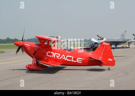 Sean D Tucker With Oracle Aerobatic Airplane at Dayton Air Show Vandalia Ohio - Stock Photo