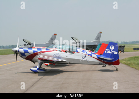 Ken Erickson With Aerobatic Airplane at Dayton Air Show Vandalia Ohio - Stock Photo