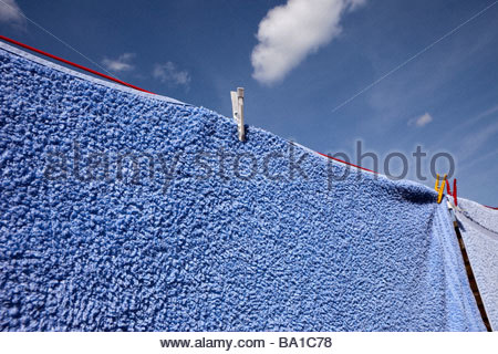 Washing drying on a line - Stock Photo