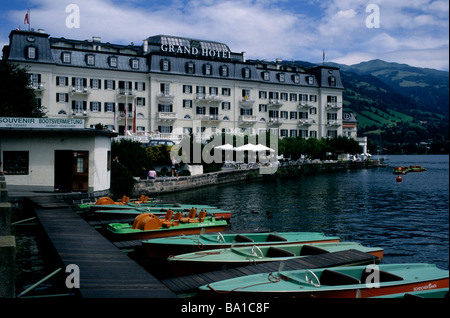 The exterior of the Grand Hotel, a luxury five-star property located on the shores of Zell, in Zell Am See, in Austria - Stock Photo