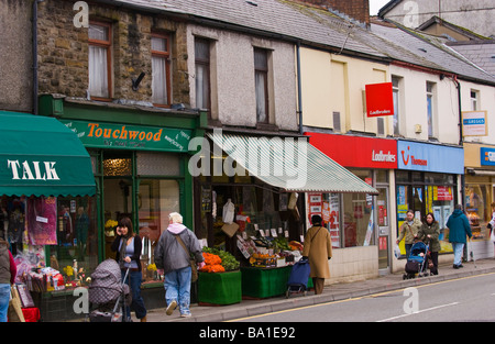 General view of shops on high street in Treorchy Rhondda Valley South Wales UK - Stock Photo