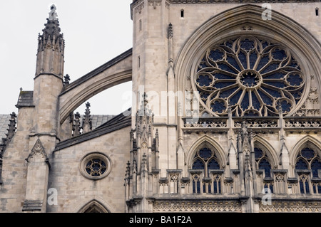 A detailed view of the Gothic style architecture of the Washington Cathedral in Washington D.C. - Stock Photo
