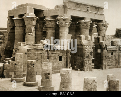 geography / travel, Egypt, Kom Ombo, temple of gods Sobek and Haroeris, hypostyle hall, view, Edition Photoglob, - Stock Photo