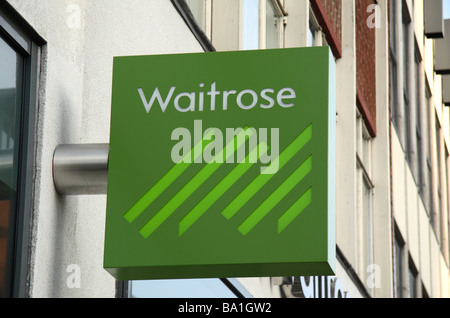 The sign above the shop front and entrance to the Waitrose supermarket on the Edgware Road,  London. Mar 2009 - Stock Photo