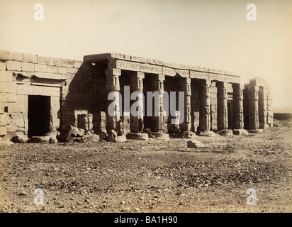 geography / travel, Egypt, Thebes West Bank, Kurna, mortuary temple of Seti I (circa 1304 - 1290 BC, 18th dynasty), - Stock Photo