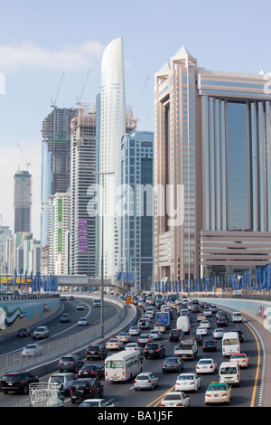 Cars in Dubai city in the Middle East - Stock Photo
