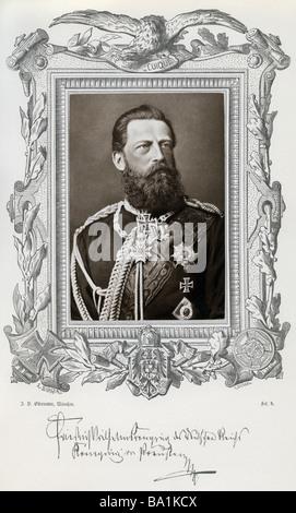 Frederick III, 18.10.1831 - 15.6.1888, German Emperor 9.3.1888 - 15.6.1888, portrait, Johann Baptist Obernetter, - Stock Photo