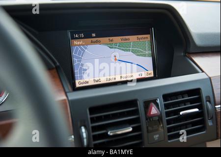 Display of on board navigation system in Mercedes GLK | Bildschirm des Onboard Navigationssystems im Mercedes GLK - Stock Photo