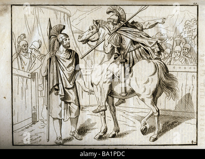 events, Greco-Persian Wars, 499 - 448 BC, 'Aristides and Alexander', 479 BC, copper engraving, 'Vorzeit und Gegenwart', - Stock Photo