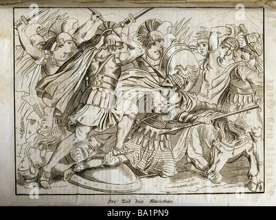 events, Greco-Persian Wars, 499 - 448 BC, Battle of Plataea,  479 BC, 'Death of Masistius', copper engraving, 'Vorzeit - Stock Photo