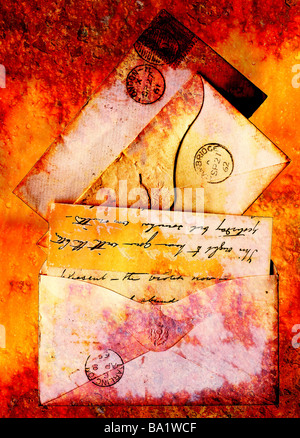 Victorian stationery from 1860s represented in a grunge style - Stock Photo