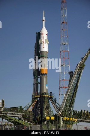 March 24, 2009 - The Soyuz rocket is erected into position at the launch pad at the Baikonur Cosmodrome in Kazakhstan. - Stock Photo