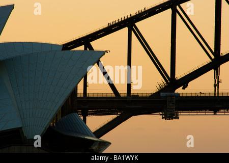 Sydney Opera House and Harbour Bridge - Stock Photo