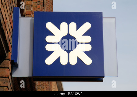 The Royal Bank of Scotland logo outside its branch in Richmond, Surrey.  March 2009 - Stock Photo