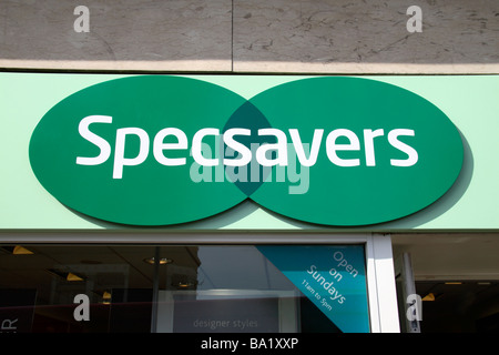 Sign above the entrance to the Specsavers opticians in Richmond, Surrey, UK. - Stock Photo