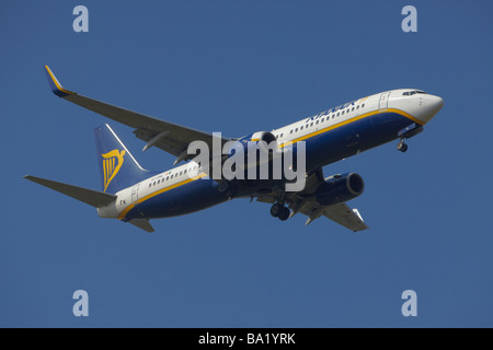Ryanair Boeing 737-8AS on final approach at Stansted Airport, Essex, England, United Kingdom - Stock Photo