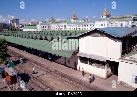 MYANMAR/BURMA. VIEWS OF THE CENTRAL TRAIN STATION IN YANGON SHOWING OLD BRITISH COLONIAL ARCHITECTURE REMNANTS Photo - Stock Photo