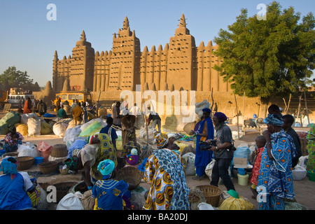 The Great Mosque on Market Day in Djenne Mali - Stock Photo