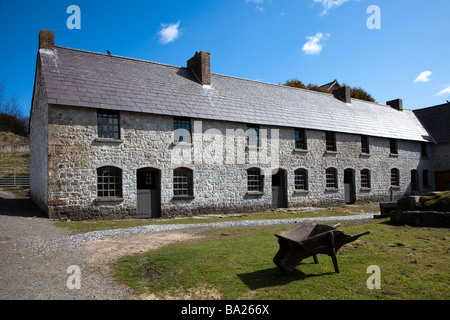 Row of terraced houses Stack Square Blaenavon Ironworks Wales UK - Stock Photo