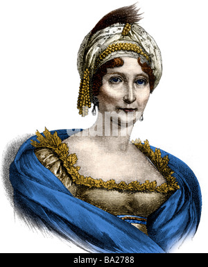 Buonaparte, Laetizia, 24.8.1750 - 2.5.1836, Corsican noblewoman, portrait, wood engraving, 19th century, later coloured, - Stock Photo