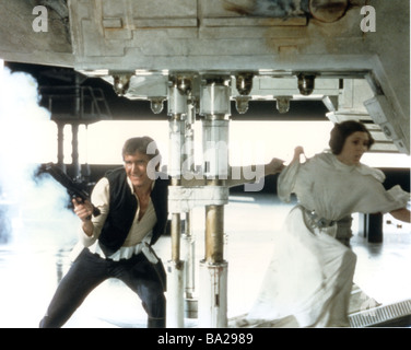 STAR WARS : EPISODE IV - A NEW HOPE 1977 TCF film with Carrie Fisher and Harrison Ford - Stock Photo