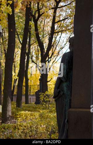Autumn graveyard scene. - Stock Photo