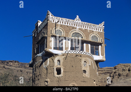 Square Room on Top of Round Adobe Mud Brick Earth Tower House, Wadi Dhar or Dhahr, near Sana'a or San'a, Yemen - Stock Photo