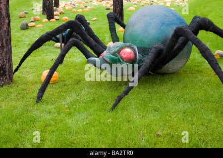 Giant model of spider on green grass. - Stock Photo