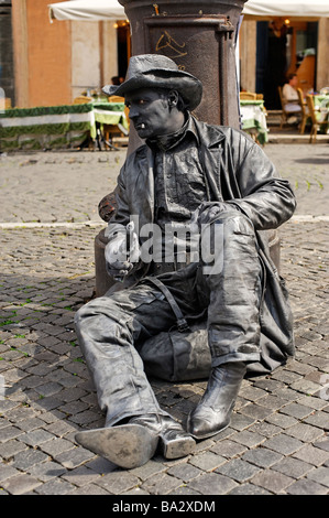 Living statue street performer in Piazza Navona Rome - Stock Photo
