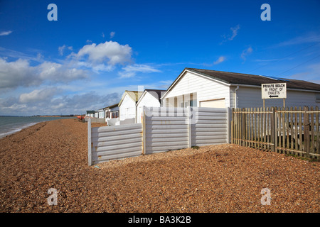 Private beach and Huts on Southampton Water at Hill Head near 'Lee on Solent' New Coastal Access Legislation may - Stock Photo