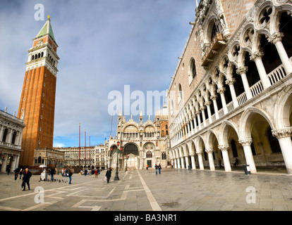 St Mark's Basilica, the campanile and the Doge's Palace, St Mark's Square, Venice, Italy. - Stock Photo