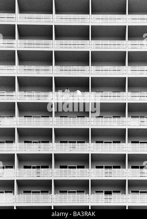 Eighties, black and white photo, holidays, tourism, resort hotel, facade, balconies, Spain, Canary Islands, Canaries, - Stock Photo
