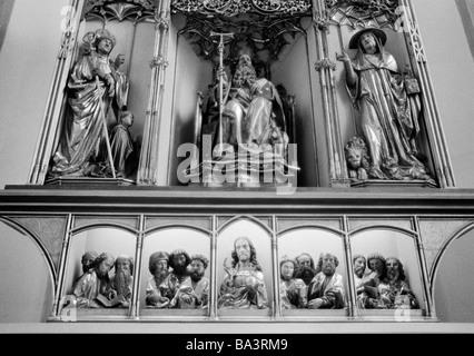 Seventies, black and white photo, religion, Christianity, third view of the Isenheim Altarpiece by Matthias Gruenewald - Stock Photo