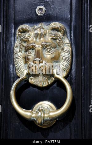 Brass lion door knocker, Park Street, Windsor, Berkshire, England, United Kingdom - Stock Photo