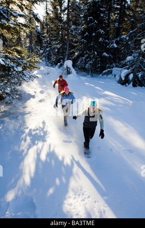 Three young women on snowshoes enjoy the outdoors near Homer, Alaska during winter. - Stock Photo