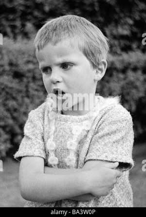 Sixties, black and white photo, people, children, little girl is annoyed and rails, aged 4 to 6 years, Birgit - Stock Photo