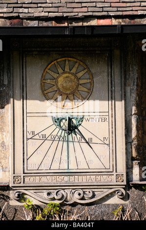 Sundial in the Old Court at Corpus Christi College, Cambridge, England UK - Stock Photo