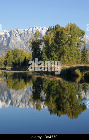 Schwabachers Landing with a full reflection of the Grand Teton mountain range and the trees in the water - Stock Photo