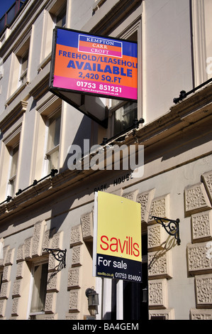 For sale and for lease signs, Sheet Street, Windsor, Berkshire, England, United Kingdom - Stock Photo