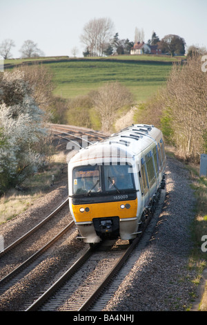 The Chiltern Main Line railway south of Leamington Spa, looking North with a Chiltern Trains Turbostar Class 165 - Stock Photo